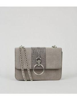 Grey Suedette Faux Croc Shoulder Bag by New Look