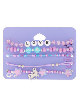 Unicorn Love Stretch Bracelets   Purple, 5 Pack by Claire's