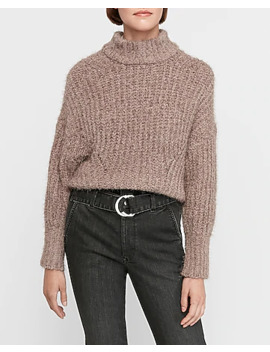Cozy Stitched Mock Neck Cropped Sweater by Express