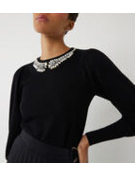 Pearl Neck Puff Sleeve Jumper by Warehouse