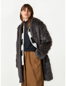 V Neck Fur Coat   Grey by Needles