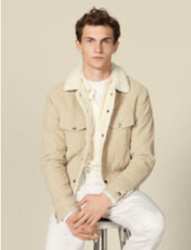 Corduroy Jacket, Faux Shearling Lining by Sandro Eshop