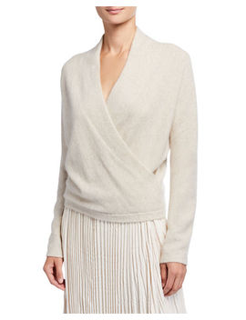 Wrap Front Long Sleeve Cashmere Pullover Sweater by Vince
