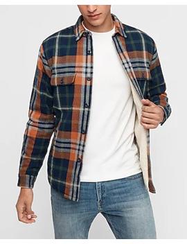 Plaid Sherpa Lined Shirt Jacket by Express