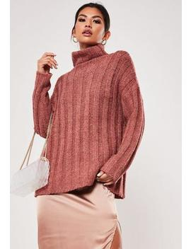 Rose Extreme Rib Roll Neck Jumper by Missguided