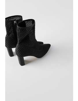 High Heel Mesh Ankle Boots by Zara