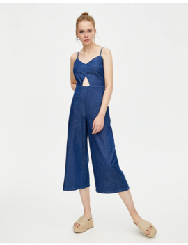 Denim Jumpsuit With Knot by Pull & Bear