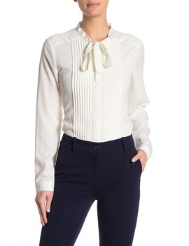 Tie Neck Pleated Blouse by Calvin Klein