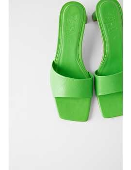 Mid Heel Leather Slides by Zara