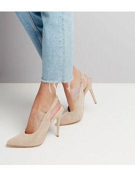 Nude Suede Pointed Slingback Heels by New Look
