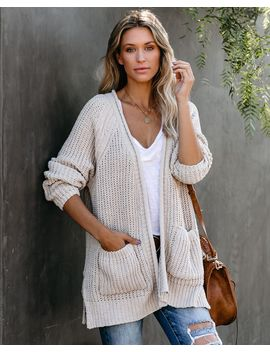 Scavenger Hunt Pocketed Chenille Cardigan   Beige by Vici