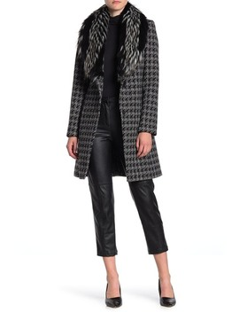Faux Fur Collar Houndstooth Coat by Via Spiga
