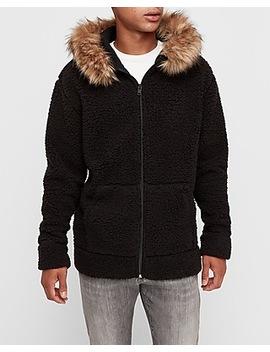Sherpa Full Zip Faux Fur Hoodie by Express