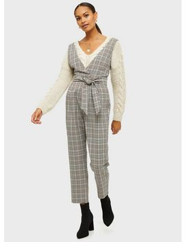 Black Check Print Plunge Jumpsuit by Miss Selfridge