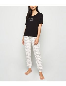 Black Relax Dog Slogan Soft Touch Pyjama Set by New Look