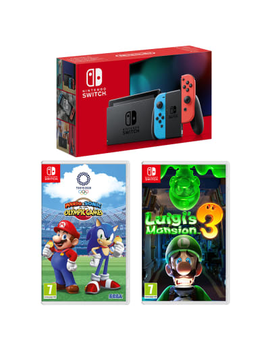 Nintendo Switch   Neon (Improved Battery) With Mario And Sonic At The Olympic Games Tokyo 2020 And Luigis Mansion 3 by Game