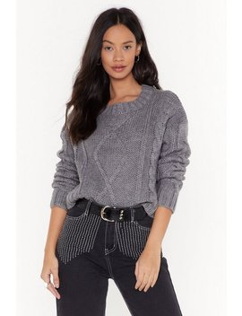 Hello Winter Cable Knit Cropped Jumper by Nasty Gal