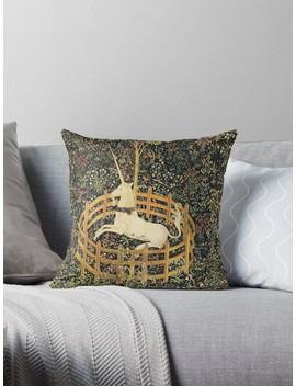 Unicorn And Gothic Fantasy Flowers,Floral Motifs Throw Pillow by Bulgan Lumini