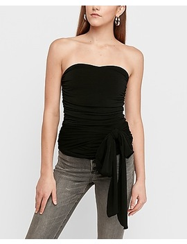 Ruched Sash Tie Tube Top by Express