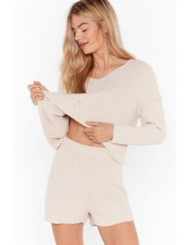 Chenille Out V Neck Sweater And Shorts Lounge Set by Nasty Gal