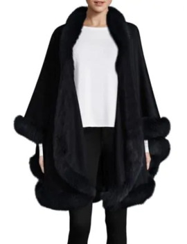 Dyed Fox Fur Trim Cashmere Wrap by Sofia Cashmere