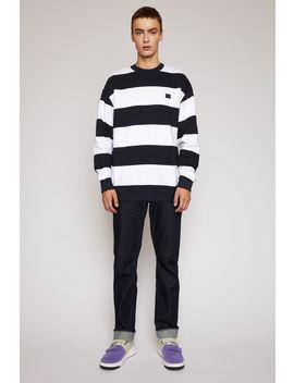 Striped Sweatshirt Navy/White by Acne Studios
