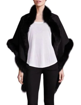 Oblong Fox Fur Trim Cashmere Wrap by Sofia Cashmere