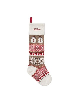 Snowman Classic Fair Isle Stocking by Pottery Barn Kids