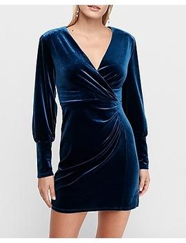 Wrap Front Volume Sleeve Velvet Mini Dress by Express