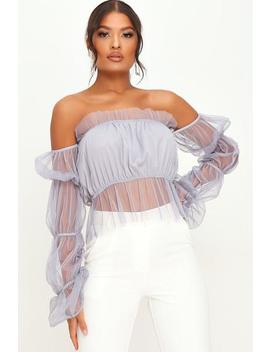 Blue Mesh Ruffle Top by I Saw It First