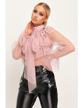 Nude Mesh Tie Front Layered Ruffle Blouse by I Saw It First