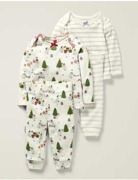 Cosy Pointelle Pyjamas   Ivory Festive Baby Penguins by Boden