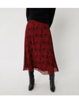 Red Leopard Pleated Midi Skirt by Warehouse