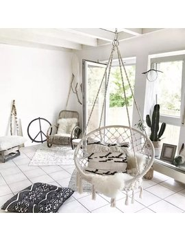 Hammock Chair Macrame Hammock Swing Chair Large Size Wih Top Circle Tassels 260 Pound Capacity Handmade Knitted For Indoor/Outdoor Home Patio Deck Yard Garden Reading Leisure by Asewin