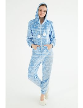 Blue Fairisle Onesie Pyjama by Select