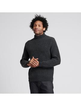 Wool Cashmere Ribbed Turtleneck Smoke by Naadam