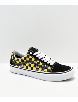 Vans Old Skool Pro Checkerboard Black & Gold Skate Shoes by Zumiez