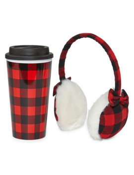 Mixit Adventure Plaid 2 Pc. Ear Muff And Travel Mug Set by Mixit