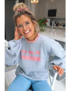 Meggan Grubb Grey 'you Are My Sunshine' Slogan Sweatshirt by In The Style