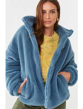 Faux Shearling Snap Button Jacket by Forever 21