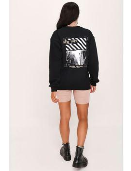 Black New York Graphic Print Oversized Sweatshirt by I Saw It First