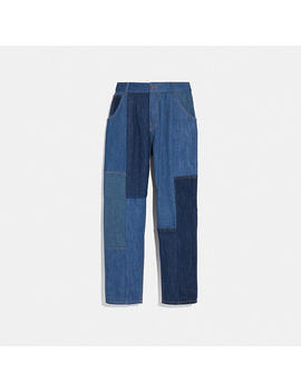 Denim Patchwork Pleated Trousers by Coach