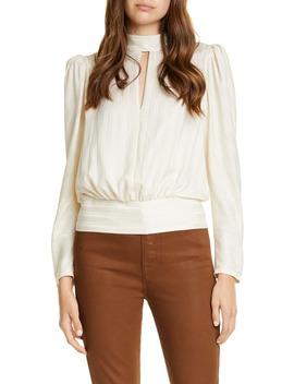 Jacquard Stripe Keyhole Silk Long Sleeve Blouse by Frame