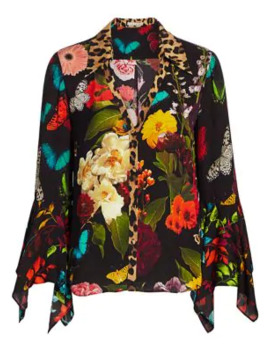 Randa Mixed Print Trumpet Sleeve Blouse by Alice + Olivia