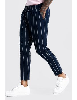 Wide Set Stripe Smart Cropped Jogger Pants by Boohoo