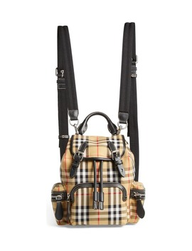 Small Rucksack Vintage Check Canvas & Leather Backpack by Burberry