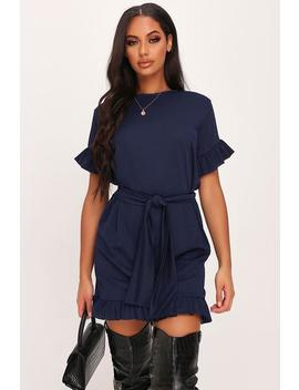Navy Tie Waist Frill Detail Dress by I Saw It First