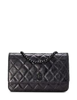 Black Crinkled Calfskin Wallet On Chain by Chanel