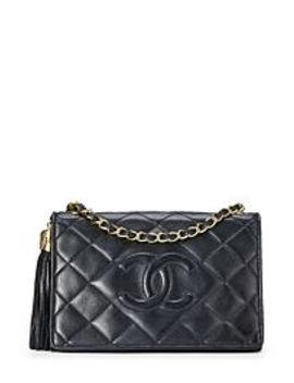 Black Lambskin Diamond Full Flap Shoulder Bag Small by Chanel
