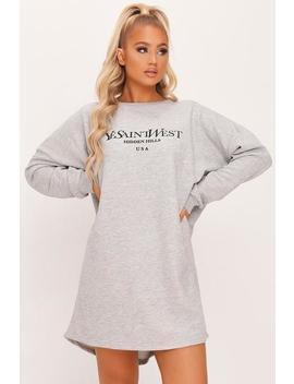 Grey Yves Saint West Oversized Sweater Dress by I Saw It First